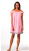 pink print off the shoulder cotton dress with embroidery at the hem
