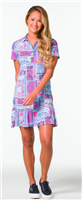 3 button front dress with collar and ruffle hem in a jersey patchwork print
