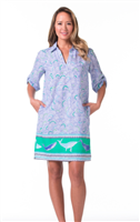 cotton dress with neck and a collar with whales on the hem