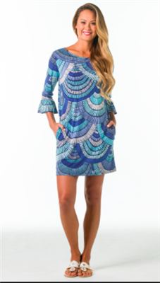 ladies ruffle sleeve knit dress in turquoise scales print