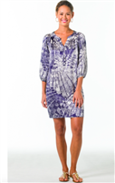 ladies blue and silver print silk dress with a 3/4 sleeve
