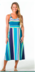 ladies jersey turquoise striped dress with with spaghetti straps and criss cross back detail