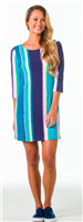 ladies jersey turquoise striped dress with 3/4 sleeve