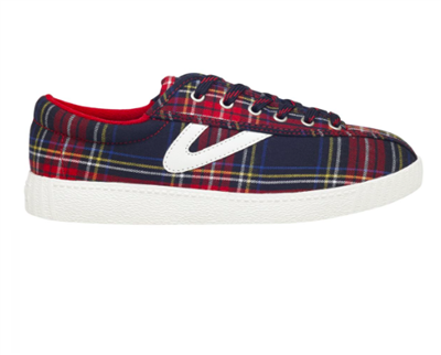 Tretorn women's red plaid canvas sneaker with white gullwing