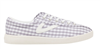 gray and white gingham canvas sneakers