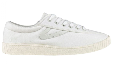 women's Vintage White canvas sneaker with white gullwing