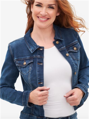 Women's blue stretch denim jean jacket.
