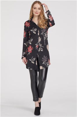 Women's long sleeve button  front black dress with flowers