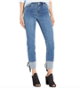 women's tribal jegging jeans in blue bliss with black lace detail