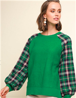 ladies kelly green sweater with plans puff sleeve