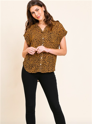 ladies animal print button front short top
