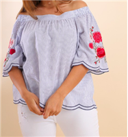 Blue Stripe Floral off the shoulder Top