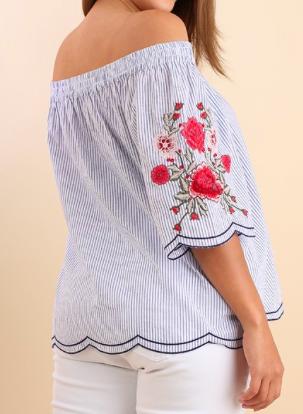 4948a249299 Umgee Plus Size Blue Stripe Off the Shoulder Floral Top - plus size ...