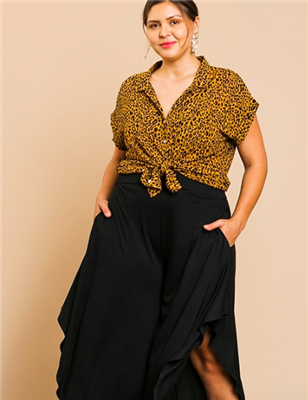 plus size ladies animal print short sleeve button front top