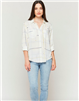 ladies white blouse with lines and stars button front with double chest pockets