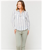 ladies stripe lace up front blouse with double chest pockets