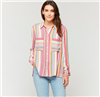 ladies stripe button front blouse with double chest pockets