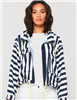 ladies blue and white stripe zip front jacket with chest pockets