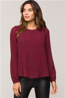 Ladies long sleeve blouse in burgundy and black print