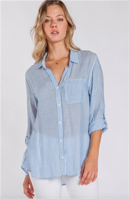 ladies stripe button front blouse with single chest pocket