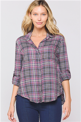Riley Denim Shirt in Plaid from Velvet Heart