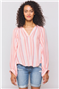 Women's long sleeve blush stripe blouse