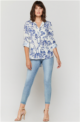 Women's blue & white shirt with lace up side