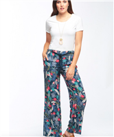 ladies rayon pants in a tropical print with a rope belt