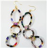 womens 3 hoop drop resin tortoise earrings that measure 3 inches
