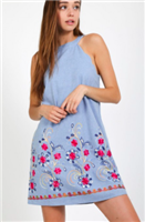 light denim scallop neck dress with embroidery
