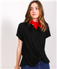 ladies short sleeve black knotted front top