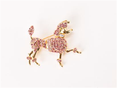 Ladies pink poodle pin in gold