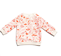 cream cotton toddler sweatshirt with pink and red leaves and bugs