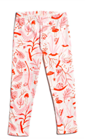 cream cotton toddler leggings with pink and red leaves and bugs