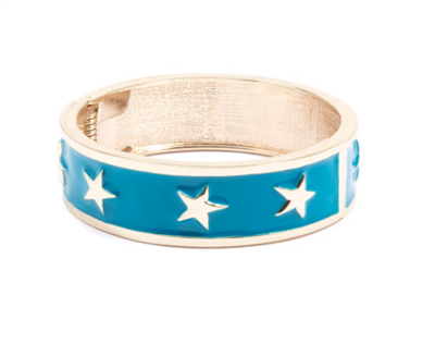 women's blue enamel star spangle bangle bracelet