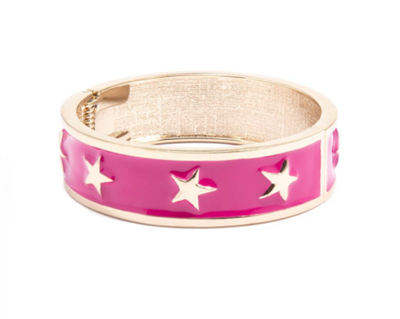 women's hot pink enamel star spangle bangle bracelet