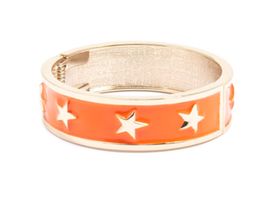 women's orange enamel star spangle bangle bracelet