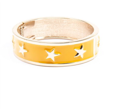 women's yellow enamel star spangle bangle bracelet