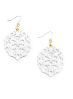 white Resin Earrings in cutout round shape on gold fish wire