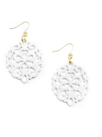 Gold Modern Damask Resin Earrings