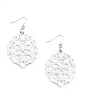 white Resin Earrings in cutout round shape on silver fish wire