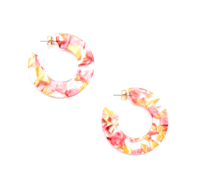 2 inch flat open ended hoop Earrings in pink tortoise pattern
