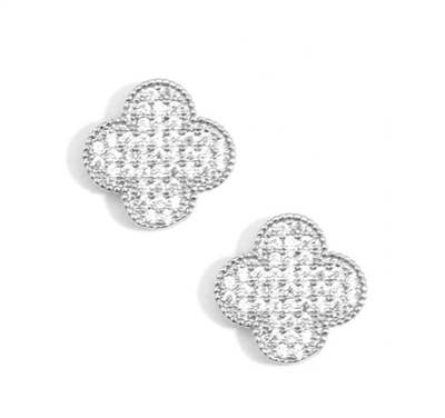 Ladies classic silver and crystal quatrefoil earrings