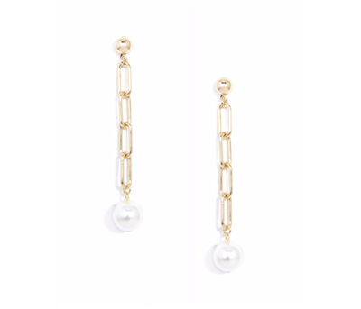 women's gold metal and pearl 3 inch chain drop earrings
