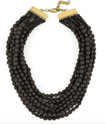 multi layer Black Matte Beaded Bib Necklace