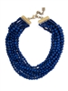 ladies Navy Matte Beaded Bib Necklace