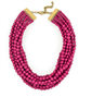 ladies Plum Matte Beaded Bib Necklace