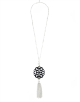 36 inch chain necklace with black resin cutout pendant with silver hardware