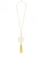 36 inch chain necklace with cream resin cutout pendant with gold hardware