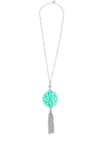 36 inch chain necklace with mint resin cutout pendant with silver hardware